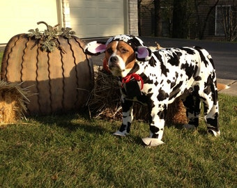 Halloween dog costumes, Special order, custom made, dog costume black and white cow for large dog