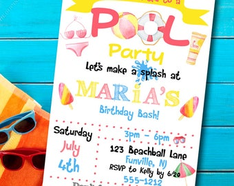 Pool Party Invitation - Pool Party Invite - Birthday party invitation -  Printable  - Girls birthday invitation - Summer party invitation