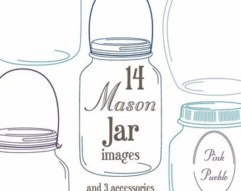 Mason Jars Clipart Clip Art - Commercial and Personal Use