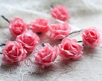 Pink rose Hair pins Flower hair pins Wedding hair pins Flower hair clip Pink Wedding hair accessories Bridal hair pins Wedding hair pin 71