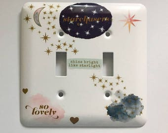 Star Chasers Light Switch Cover, Gifts for Her, House Warming Gift, Falling Stars, Shine Bright Like Starlight