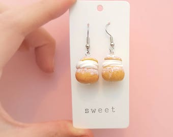 Semla earrings, semla necklace, food jewelry, food necklace, semla jewelry, semlor, swedish fika, pastries, gift for her, pastries, sweets