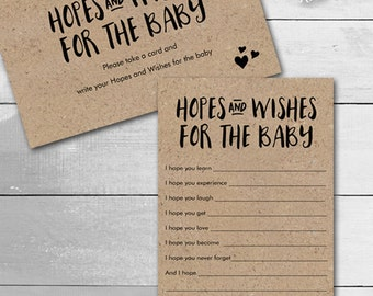 Baby Shower Hopes and Wishes / Gender Neutral design / Instant Download / PRINTABLE / #9241