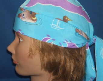 Do Rag Silky Duckies Head Wrap Biker Do Rag Skullcap for Motorcycle Riding or Chemotherapy Patients