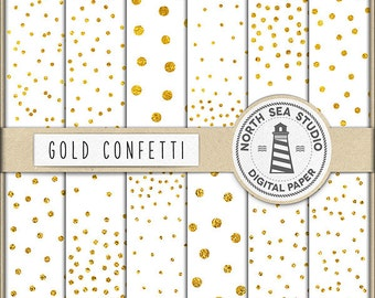Gold Confetti Digital Paper Pack | Scrapbook Paper | Printable Backgrounds | 12 JPG, 300dpi Files | BUY5FOR8