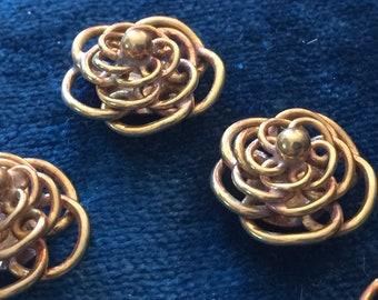 4 Vintage Brass Flower Findings High Quality Versatile Connectors Cabochons