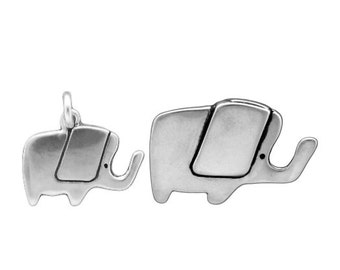 Mother Daughter Elephant Necklace Set - Sterling Silver Elephant Pendants