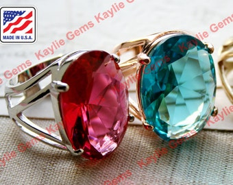 Big Over Sized Cocktail Statement Finger Ring Rose Glass Jewel Gem Sterling Silver Plated, Polished Brass, Rose Gold