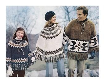 Knit Poncho Pattern Vintage 1970s Pullover Poncho Pattern Mens Womens Childs Poncho Raglan Sleeve PDF Instant Download K64