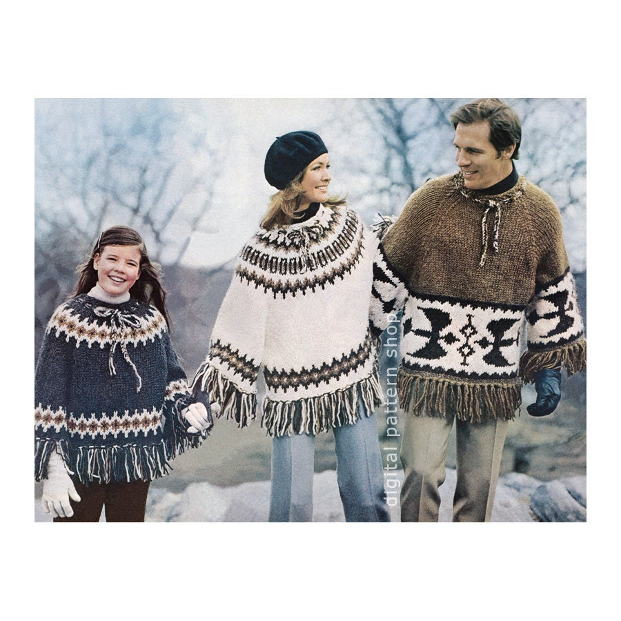 Knit Poncho Pattern Vintage 1970s Pullover Poncho Pattern Mens ...