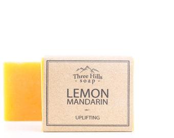 Lemon Soap,Mandarin Soap,Natural Soap,Citrus Soap,Scented Soap,Handmade Soap,Vegan-Palm Free Soap,Refreshing, Irish Made,Essential Oil Soap