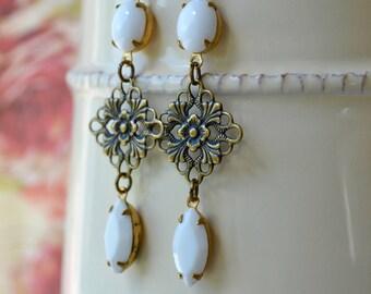 Long White Earrings, Brass Filigree Drop Earrings, Vintage Bead Jewelry, Vintage Glass Earrings, Art Deco Style Earrings, Gift for Women