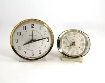 Two vintage wind-up clocks - Big Ben and Baby Ben by Westclox - alarm, midcentury, pair, set, large and small