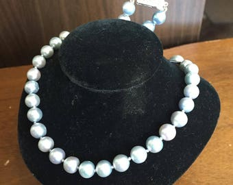 Natural Genuine Tahitian Blue Pearl Necklace