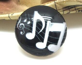 2 cabochons 10 mm glass music black 1 - 10 mm