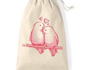 Bag/pouch in cotton with DrawString to store and offer otherwise as bird love gift