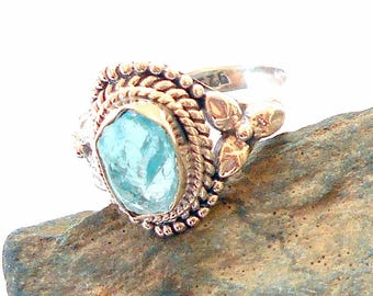 Blue Apatite Sterling Silver Ring Size 5.75  earthegy #1177