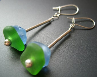 Genuine Beach Combed Blue Green Sea Glass Earrings - Sterling Silver