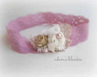 Neve - Pink Cream Beige Lace Headband - Flower Pearl - Newborn Infant Baby Girl Toddler Adult
