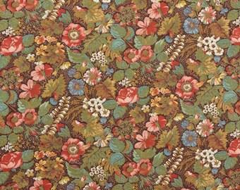 Vintage Floral Fabric, Vintage Cotton Floral Fabric, Brown Floral, Cotton Quilting Fabric, Cotton Fabric - 7/8 Yard - CFL2279