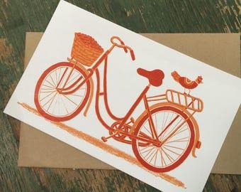fat tire bike, BICYCLE PRINT, Girls bike card, letterpress print, vintage decor, bicycle art decor, bike wall art, bike greeting card