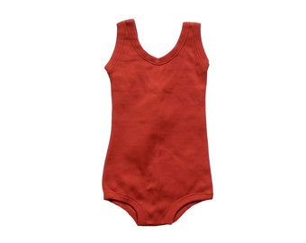FRENCH VINTAGE 70's / for girls / swimming suit / rust polyamide / new old stock / size 2 years