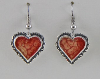 Hand Painted Silver and Red Enamel Heart Earrings