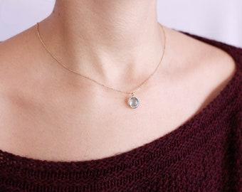 Blue Topaz Necklace, White Gold Necklace, Gold Gem Necklace, Solid Gold Necklace, Gemstone Necklace, Blue Topaz Gold Necklace, GN0341