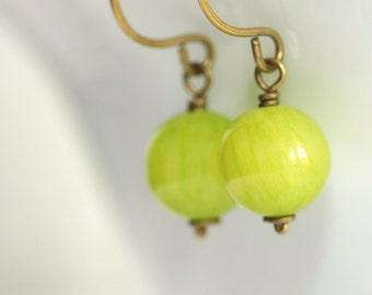 Green Jade Earrings - 'Lying Priest'