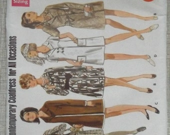"""Slightly Fitted Wrapped Dress in Size 16 Bust 38"""" Complete Mostly Uncut Vintage Butterick Sewing Pattern 5209 Coatdress Style"""