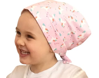 Mia Children's Head Cover, Girl's Cancer Hat, Chemo Scarf, Alopecia Headwear, Head Wrap, Cancer Gift for Hair Loss - Rainbow Unicorns
