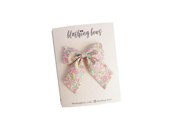 The Madeline Fabric Bow, Hand Tied Fabric Bows, Baby Girl, Toddler, Girls Fabric Bow Headband or Hair Clip
