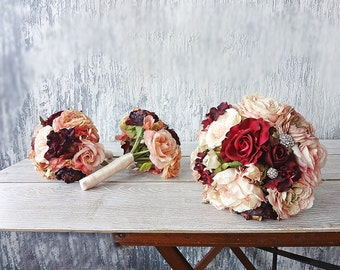 Peach and burgundy Bridal bouquet bridesmaids bouqets Wedding flower package Real touch silk roses Ranunculus  Peonies Hydrangeas