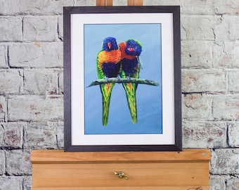 Rainbow Lorikeets. Signed limited edition (100) 325gm fine art print by Griff
