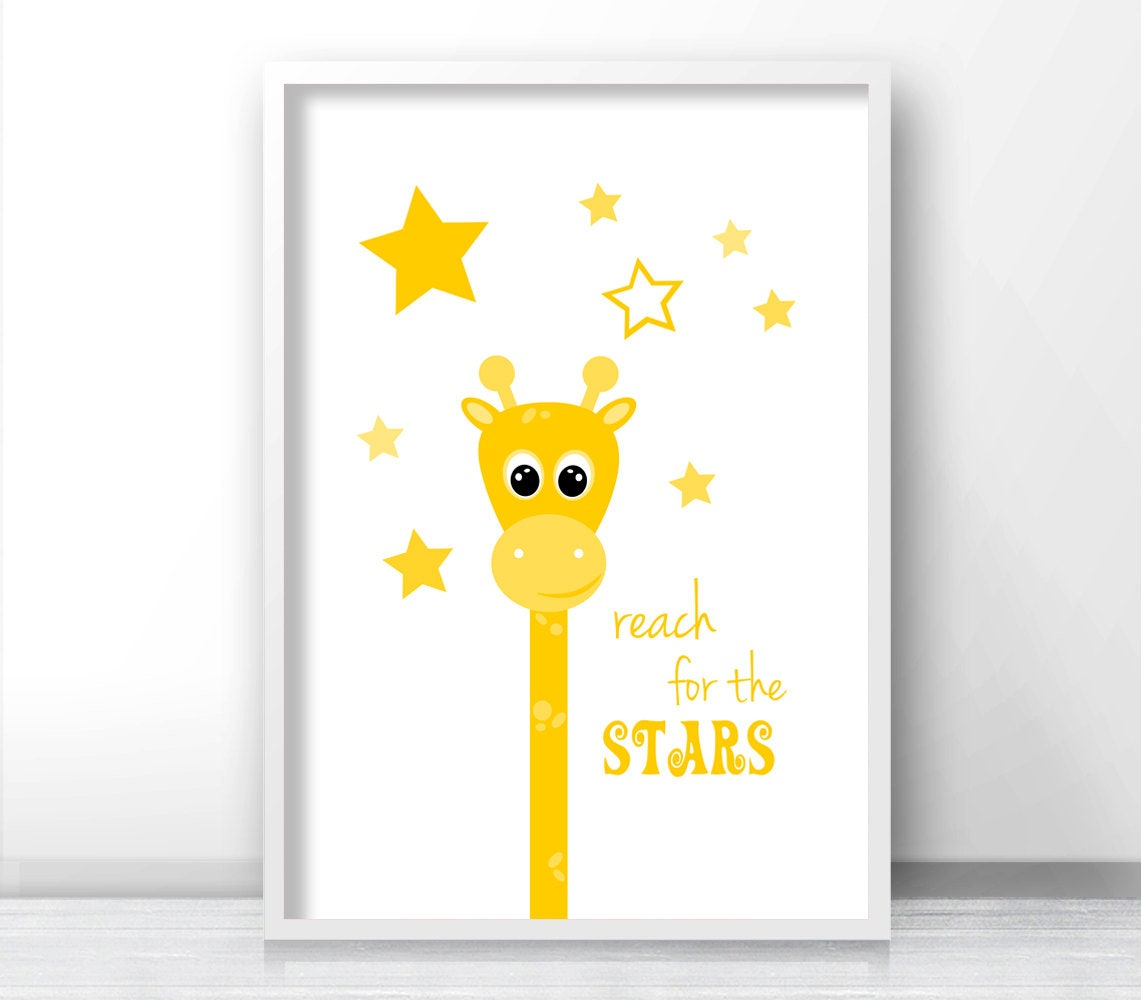 Yellow Nursery Art Giraffe Wall Art Stars Nursery Print