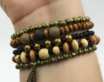 Boho Stackable Bracelet Set / Beaded Bracelet Set