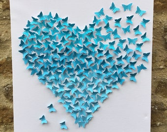 Mothers Day/Ombre 3d butterfly wall art/3d butterfly canvas/Blues and Glitter Blue/Butterflies/Heart/Birthday/Wedding/Mothers Day