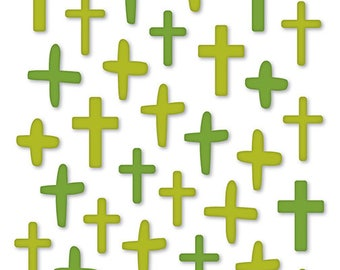 Illustrated Faith Olive You Green Puffy Crosses Stickers for Bible Journaling, Planners, and more!