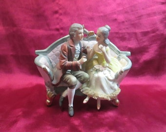 Vintage Colonial Couple on Couch ARDCO Fine Quality Dallas Made In Japan 1950s