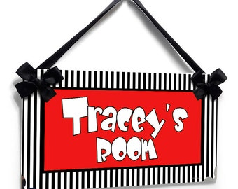 custom door sign - black white and yellow teens bedroom decor - personalised room plaque - P598