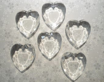 6 Crystal 36mm Plastic Faceted Heart Pendants Charms