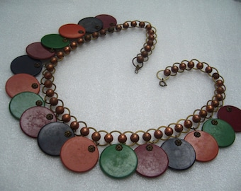 Vintage book piece swirl multi-color early plastic necklace - bakelite era
