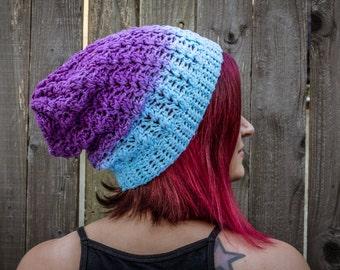 Hydrangea Dip-Dyed Crochet Slouchy Hat