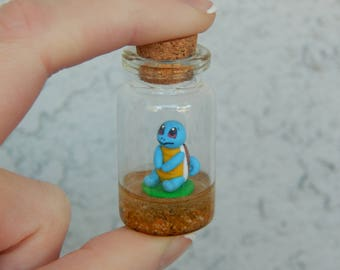 Micro Squirtle Inspired Bottle Charm/Terrarium Necklace/Christmas Ornament