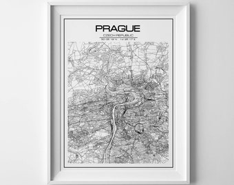 Prague map, Czech Republic print, christmas gift, houswarming print, prague poster, prague print, prague map art, printable map, city print