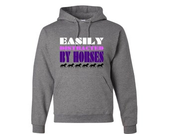 Easily Distracted By Horses Pullover Hooded Sweatshirt, Horse Sweatshirt, Barn Rat Pullover Hoodie