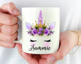 Personalized Unicorn Mug, Name Unicorn Gift, Purple Unicorn Mug, Gift For Her, Unicorn Lover Gift, Unicorn Birthday Gift, Eyelashes Unicorn