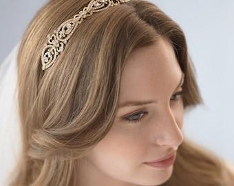 Gold Wedding Headband, Vintage Bridal Headband, Gold Headpiece, Crystal Headband, Gold Bridal Headpiece, Bridal Hair Accessory ~TI-3215