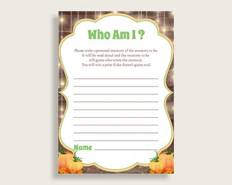 Who Am I Baby Shower Who Am I Autumn Baby Shower Who Am I Baby Shower Autumn Who Am I Brown Orange paper supplies instant download 0QDR3