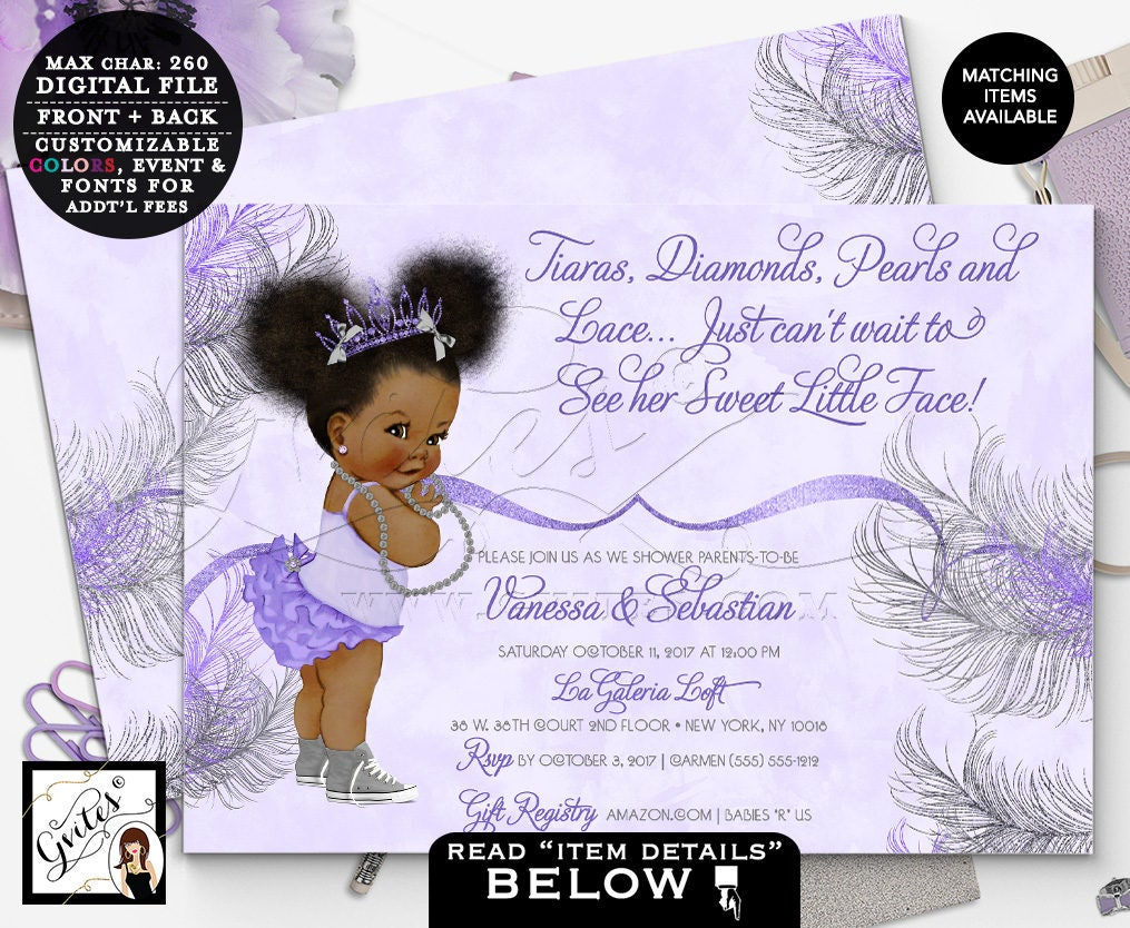 Purple and silver african american princess baby shower invitation purple and silver african american princess baby shower invitation tiaras bows diamonds pearls 7x5 double sided afro puffs gvites filmwisefo
